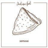 Samosa triangulaire croustillant délicieux de nourriture indienne traditionnelle illustration de vecteur