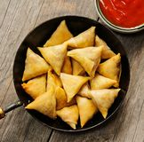 Samosas Indian snack in frying pan Royalty Free Stock Photography
