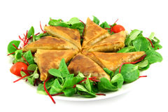 Samosas on a plate Stock Photo