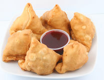 Samosas in plate. Fresh and spicy samosas for snack Stock Image
