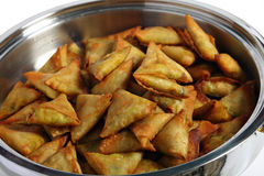 Samosas in a serving bowl Royalty Free Stock Photography