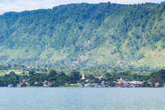 Samosir Island with High Cliff View. Samosir Island in the center of Lake Toba, Indonesia with beautiful high cliff view royalty free stock image