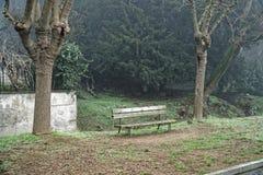 Samotna ławka w mgłowym towpath, żadny ludzie, osamotniony nastrój Obrazy Stock