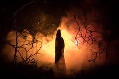 Samotna dziewczyna z światłem w lesie przy nocą lub błękitny stonowany noc las przy mgła czasem, Selekcyjna ostrość Obraz Royalty Free
