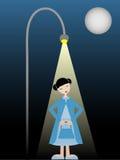 samotnej dziewczyny lampy nieśmiała trwanie ulica ilustracji