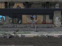 Samotnie w CityCity ruinach Obrazy Royalty Free