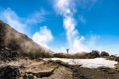 Samotnie w Krafla powulkanicznym terenie, Iceland Obraz Stock