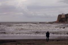 Samotność przy Adriatyckim dennym brzeg, burza (Montenegro, zima) zdjęcie royalty free