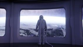 Samotny astronauta w futurystycznym statku kosmicznym, pokój widok ziemia filmowy 4k materiał filmowy ilustracji