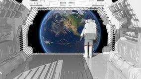 Samotny astronauty odprowadzenie w futurystycznym sci fi korytarzu podziwia widok ziemia ilustracja wektor