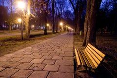 samotny ławce parku Obraz Royalty Free