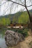 Samotny drzewo i duży kamień blisko jeziora podczas wczesnej wiosny w Chiny Fotografia Royalty Free