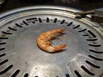 Samotny uskorupiony krewetkowy obsiadanie na Koreańskim grilla grillu w ciemnej restauracji zdjęcie stock