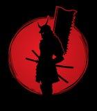 Samouraïs avec le graphique de drapeau illustration stock
