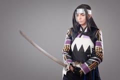 Samouraïs japonais avec l'épée de katana Images libres de droits