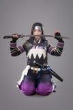 Samouraïs japonais avec l'épée de katana Images stock