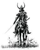 Samourai with sword on a horse stock illustration