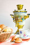 Samovar . Samovar decorated with the Yaroslavl artists Royalty Free Stock Photos