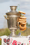 Samovar and bagels Stock Images