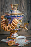 Samovar, bagels and cup of Tea Stock Photography