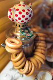 Samovar and bagels Stock Photography