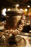 Samovar with bunch of bagels Stock Images