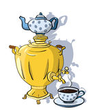 Samovar and cup of tea Royalty Free Stock Images