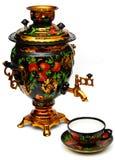 Samovar do russo e um copo de chá Imagem de Stock Royalty Free
