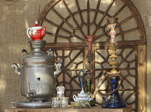 Samovar & hookahs. In an exhibition Royalty Free Stock Photography