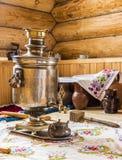 Samovar in the kitchen Stock Photos