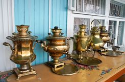 Samovar in the museum of samovars in Gorodets the Royalty Free Stock Photo