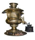 Samovar- och kaffegrinderen göras i 1901 Royaltyfri Fotografi