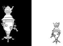 Samovar retro aislado en blanco y negro ilustración del vector