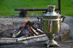 Samovar. A Russian samovar on the table royalty free stock image