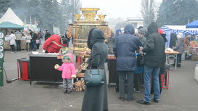 Samovar, Shrovetide (Maslenitsa) celebration in Ky Stock Photo