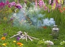 Samovar smoke axe Photo stock