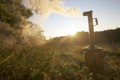 Samovar smoke sunset Stock Images