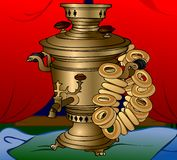 Samovar & sushki Royalty Free Stock Images