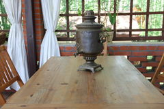 Samovar on the table Royalty Free Stock Image