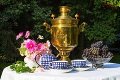 Samovar, tazze di tè, fiori rosa ed uva su una tavola coperta immagine stock libera da diritti