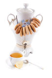 Samovar and tea cup with bagels Royalty Free Stock Image