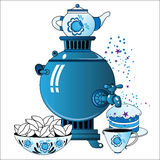 Samovar with tea cup, cake Royalty Free Stock Photo