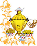 Samovar and tea drinking Royalty Free Stock Image