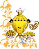 Samovar and tea drinking Royalty Free Stock Image