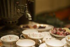 Samovar and tea mugs Royalty Free Stock Photo