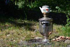 Samovar tea, outdoor Royalty Free Stock Photo