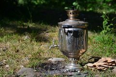 Samovar tea, outdoor Stock Photography