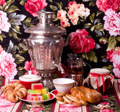Samovar With Cup And Books Royalty Free Stock Images