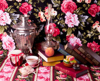 Samovar With Cup And Books Royalty Free Stock Photo