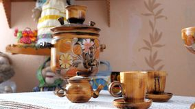 Samovar, wooden utensils. stock video